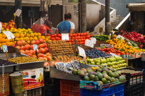 Fototapeta Local Fruit and vegetable market in Athens Greece