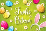 Frohe Ostern Hintergrund mit bunten Ostereiern und Hasenohren - 194331880