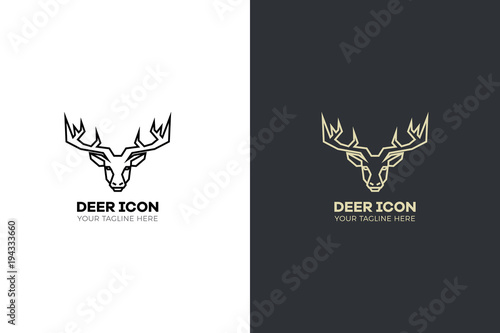 Aluminium Hipster Hert Stylized geometric deer head illustration. Vector icon tribal stag design