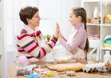 Mother and daughter cooking and having fun, home kitchen interior, healthy food concept - 194336865