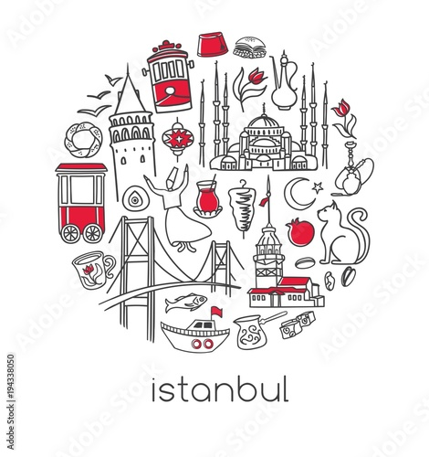 Modern vector illustration Istanbul with circle composition of hand