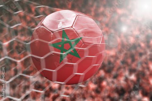 Fotobehang Marokko Scoring a Goal, Morocco soccer ball