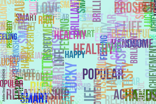 Happy word cloud, for design wallpaper, texture or background. Shape, pattern, clever, pretty, prosperity & care. - 194345426