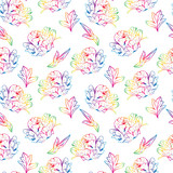 blossoming peony with leafs, seamless pattern
