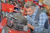 worker repairing lawnmower motor - 194350279