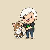 Cute Cartoon Character Design Siberian Husky Dog  A Man Play Game  A Branch For Dog Wall Sticker