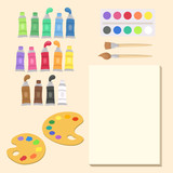 Art Supplies Set Vector Illustration Cartoon. Paint tubes, palette, canvas,and brush. Back to School Supplies. - 194364062