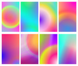 Fluid iridescent multicolored backgrounds. Vector illustration of fluids. Background set with holographic neon effect. Phone screen saver set. - 194368286