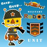 Military Robot Cartoon Wall Sticker