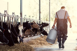 farmer asian are holding a container of milk on his farm.walking out of the farm - 194375661