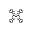 Skull with crossed bones outline icon. linear style sign for mobile concept and web design. Crossbones death skull simple line vector icon. Symbol, logo illustration.