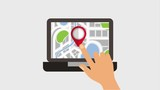 hand touch screen laptop finding the right place in map gps navigation animation - 194378666