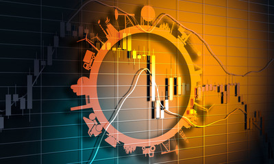 Forex candlestick pattern. Trading chart concept. Financial market chart. 3D rendering. Circle with industry relative silhouettes