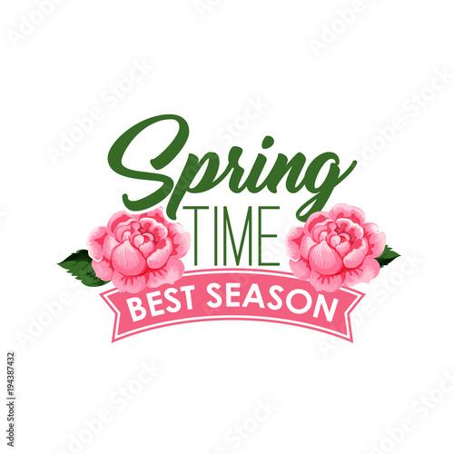 Fototapeta Spring time season roses flowers bunch vector icon