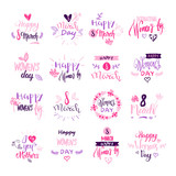 Happy Women Day Badges Set Creative Pink Lettering Calligraphy Collection On White Background Vector Illustration - 194389667