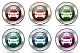 Taxi vector icon set. Silver metallic chrome border icons for web design and smartphone applications