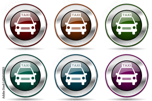 Fototapeta Taxi vector icon set. Silver metallic chrome border icons for web design and smartphone applications