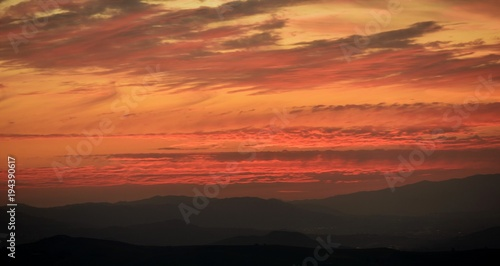 Plexiglas Oranje eclat coucher de soleil en kabylie