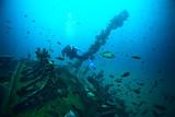 shipwreck, diving on a sunken ship, underwater landscape - 194391648