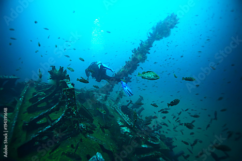 Plexiglas Schipbreuk shipwreck, diving on a sunken ship, underwater landscape