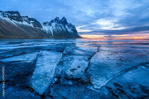 Aluminium Nachtblauw amazing wild landscape of stokksnes, iceland