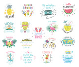 Summer Color Handlettering Labels And Stickers Tropical Emblems  Fruits Travel Postcards  Quotes Wall Sticker