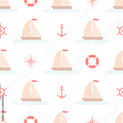 Cotton fabric Seamless nautical pattern with sailing boat, vector.