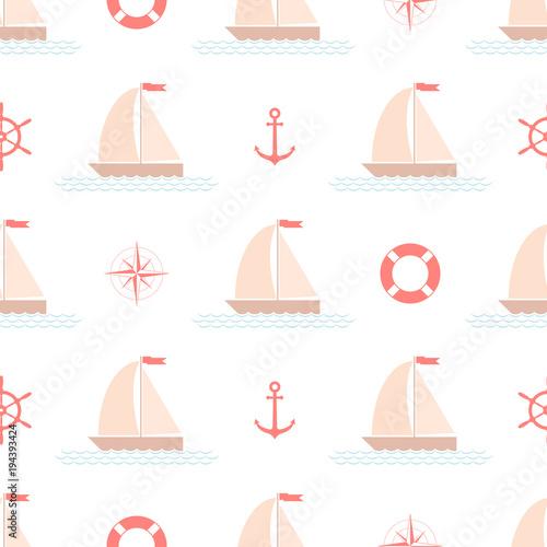 Materiał do szycia Jednolity wzór morskie z łodzi żaglowych, wektor.