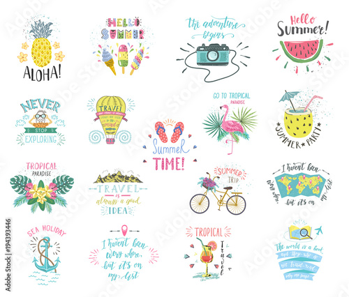 Set of Summer color hand-lettering labels and stickers