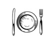 Plate with Knife and Fork Hand Drawing Symbol Restaurant Logo Vector