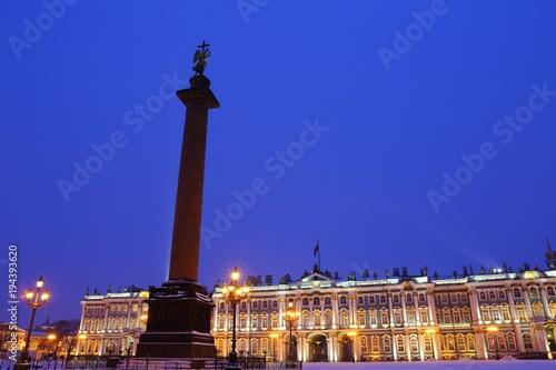 Aluminium Donkerblauw Winter Palace Square and Angel on the Alexander Column