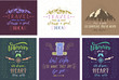 Set of travel posters. Vector hand drawn illustrations for t-shirt print or posters with hand-lettering quotes.