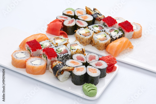 Tuinposter Sushi bar sushi set on the white background