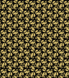 Floral vector ornament. Seamless abstract classic background with golden flowers. Pattern with repeating floral elements - 194398061