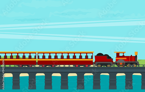 Deurstickers Lichtblauw Train on railway. Vector travel concept background.