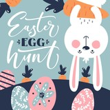 easter bunny egg hunt template - 194406675
