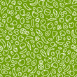 Seamless background with fruits and vegetables. Vector fresh organic food pattern - 194407209