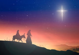 Fototapety Christmas religious nativity concept: Silhouette pregnant Mary and Joseph with a donkey on star of cross background