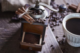 Close up of coffee grinder with ground coffee - 194409605