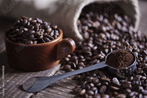 Beans of coffee and jute bag