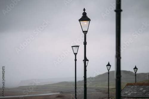 Lamp posts in shore side city in England