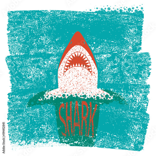 Shark jaws.Vector blue sea waves background