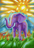 Abstract African Elephant Painting (Digital Illustration)