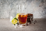 Espresso Tonic, refreshment summer drink with tonic water, lime and coffee, grey stone table, copy space - 194417828