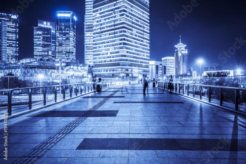 Fotobehang Shanghai Shanghai Lujiazui Financial District Square Night