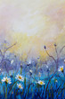 wildflowers, chamomile - Small white flowers on a toned on gentle soft blue and pink background outdoors close-up macro . Spring summer floral painting. Light air delicate artistic image, free space
