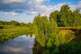 beautiful summer landscape of the river and forest. blue sky with clouds. Western Siberia, Russia