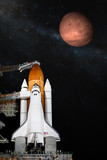 Space shuttle taking off on a mission. Elements of this image furnished by NASA. - 194425637