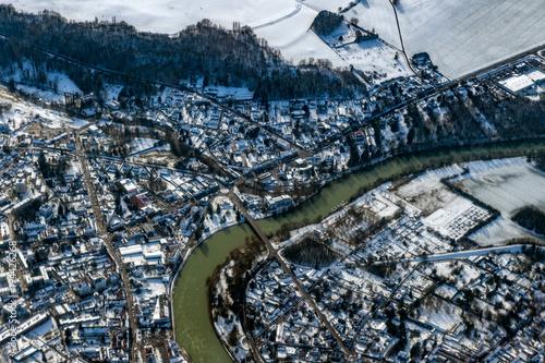Aluminium Bleke violet Seine river paris region aerial view in winter cold ice and snow