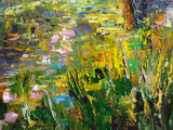 Abstract oil painting background. Fantasy spring landscape. Oil on canvas texture. Hand painted. Modern art.